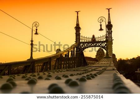 Sunset at Liberty Bridge - Budapest, Hungary  - stock photo