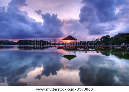 Sunset at Lower Pierce Reservoir in Singapore