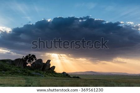 Sunset at Maasai Kopjes in the Serengeti, Tanzania - stock photo