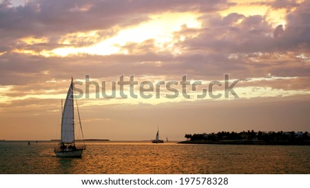 Sunset at Mallory Square with twilight sky, Key West FL - stock photo