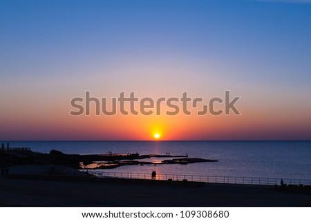 Sunset at Mediterranean - stock photo