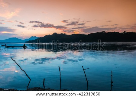 Sunset at Mekong river, Luang Prabang Laos.