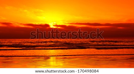 Sunset at Mission Bay in San Diego, Southern California, USA - stock photo