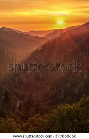 Sunset at Morton Overlook in the Great Smoky Mountains National Park - stock photo