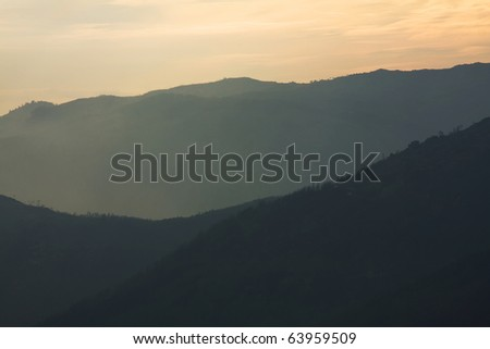 Sunset at mountains, Geres national park, Portugal