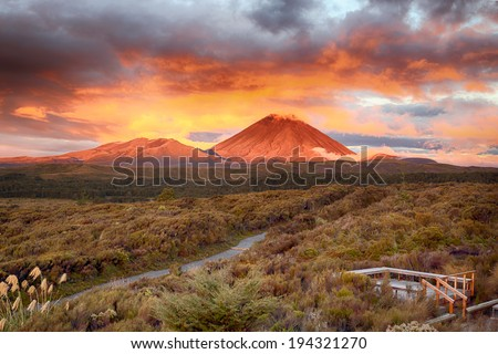 Sunset at Mt Ngauruho, New Zealand  - stock photo