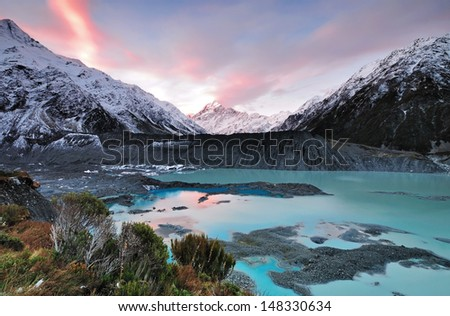 Sunset at Mueller Glacier Aoraki Mt Cook National Par, South Island, New Zealand - stock photo