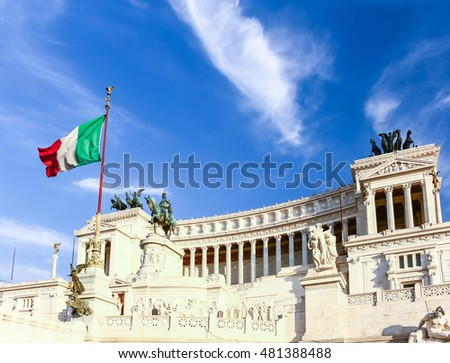 Sunset at National Monument to Victor Emmanuel II in Rome, Italy