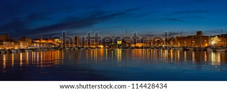 Sunset at old port (Port Vieux) of Marseille, France - stock photo