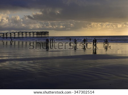 sunset at pacific beach pier, san diego, california - stock photo