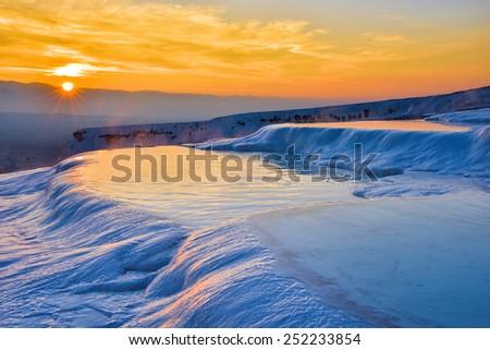 Sunset at Pamukkale (Turkey) - stock photo