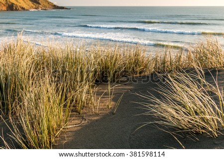 Sunset at Port Waikato beach, Western coast of North Island, New Zealand - stock photo