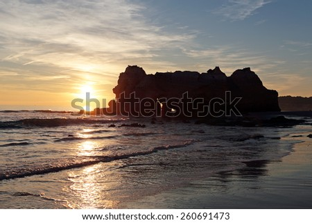 Sunset at Praia da Rocha in Portugal