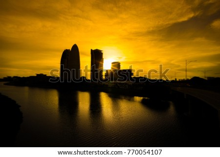 Sunset at putrajaya lake side