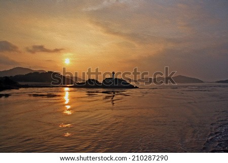 sunset at putuo island, east china sea, stylized and filtered to look like an oil painting.