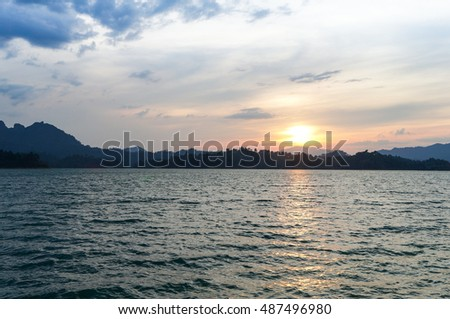Sunset at Ratchaprapha Dam, Khao sok national park, Suratthani, Thailand