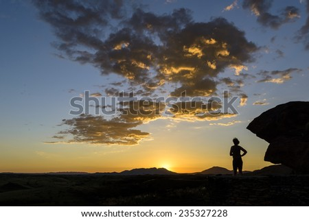 Sunset at Rooiklip Campsite - stock photo