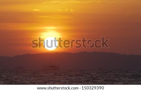 Sunset at Sabah, Borneo, Malaysia - stock photo