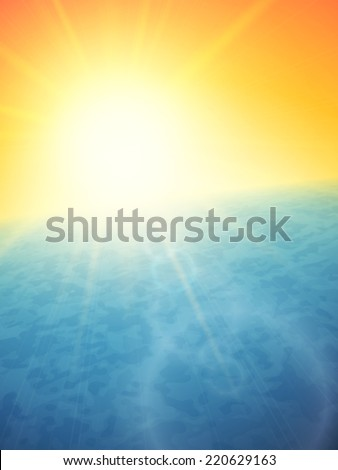 Sunset at sea, horizon with summer sun, blue ocean and clear orange sky, background illustration
