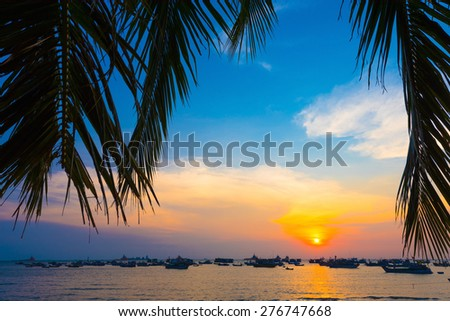 sunset at sea in Vung Tau, southern Vietnam - stock photo