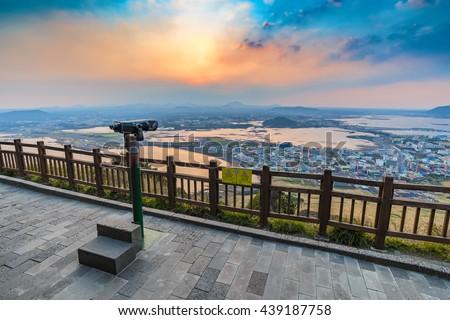 Sunset at Seongsan Ilchulbong, Jeju, South Korea - stock photo