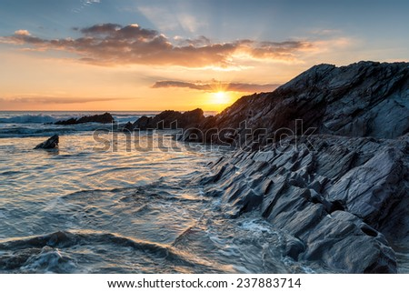 Sunset at Sharrow beach on Whitsand Bay in Cornwall