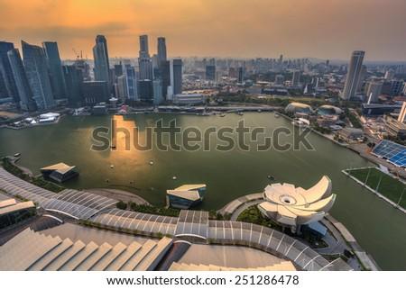 sunset at Singapore City Skyline view at Marina Bay - stock photo