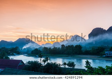 Sunset at Song river, Vang Vieng, Laos