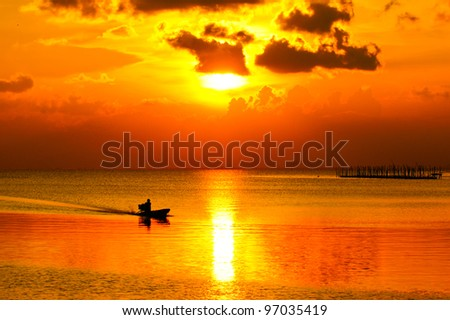 Sunset at Southern Lake Thailand. - stock photo