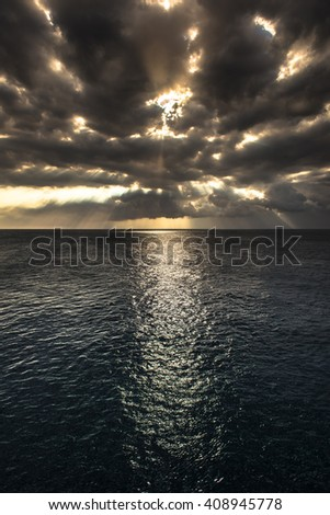 sunset at Southpoint in Hawaii USA - stock photo