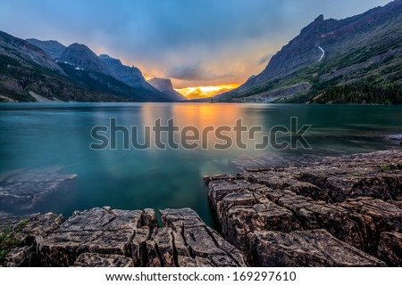sunset at St. Mary Lake, Glacier national park, MT - stock photo