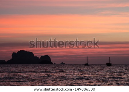 Sunset at tha railay beach, Krabi, Thailand, January 2013 - stock photo