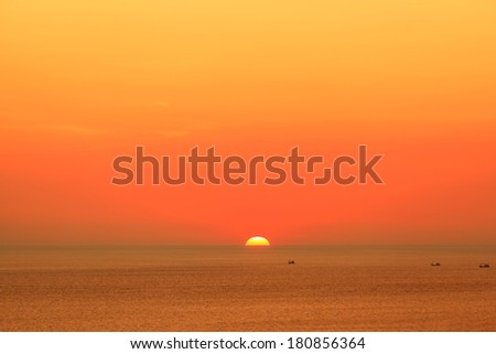 Sunset at the Andaman sea, Thailand - stock photo