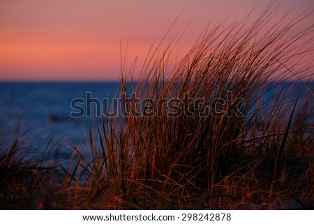 Sunset at the Baltic Sea - stock photo