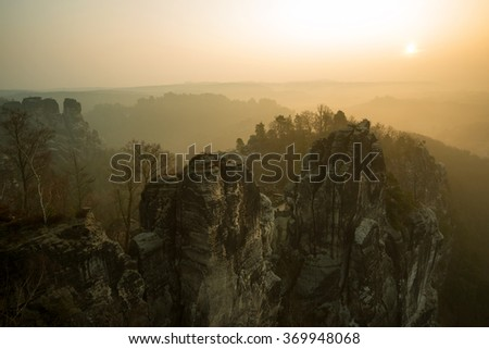 "sunset at the ""Bastei"" in the Elbe Sandstone Mountains"