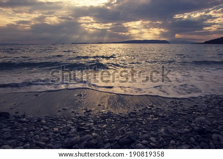 Sunset at the beach - stock photo