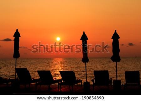Sunset at the beach at koh chang, Thailand - stock photo