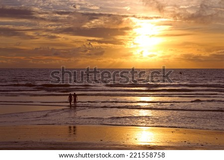Sunset at the beach in Bali, Indonesia - stock photo