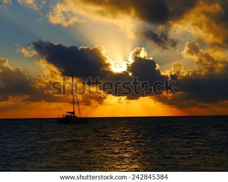 sunset at the beach ocean panorama  - stock photo