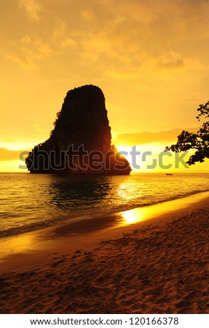 Sunset at the Beautiful Beach in South of Thailand