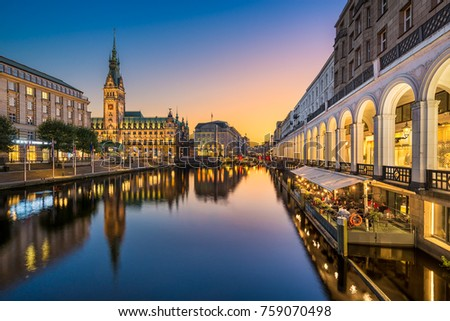 Sunset at the City Hall in Hamburg, Germany