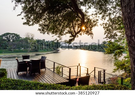 Sunset at the corner of the river kwae in Kanchanaburi province of Thailand