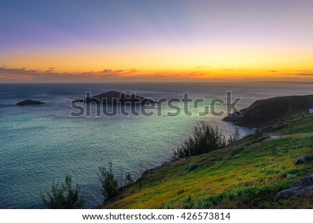 Sunset at the  crystalline and turquoise beaches of Pontal do Atalaia, Arraial do Cabo, Rio de Janeiro, Brazil. - stock photo