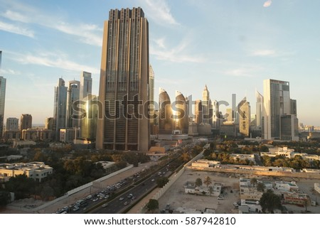 sunset at the financial street of Dubai February 2017 , Dubai sunset clouds Dubai financal district finicial