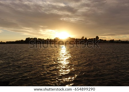 Sunset at the lake in Bitterfeld