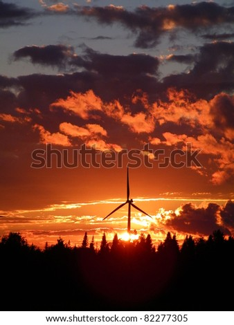 Sunset at the Maple Ridge Wind Farm in upstate NY