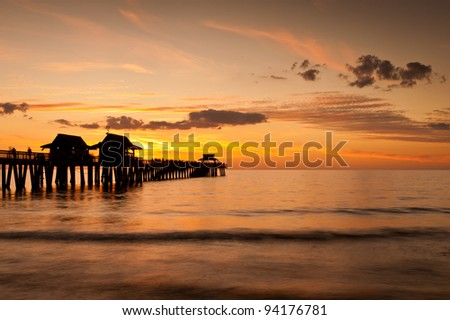 Sunset at the Naples Pier in Naples, Florida