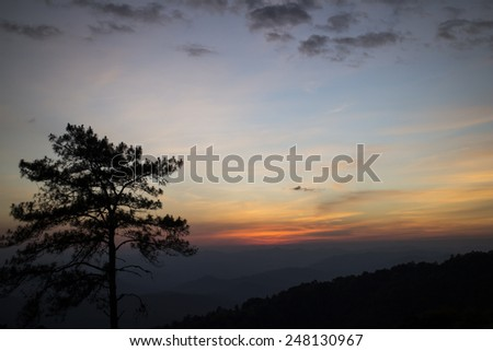 Sunset at the National park, Thailand
