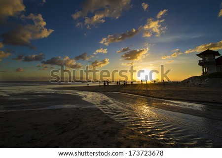 sunset at the ocean  - stock photo