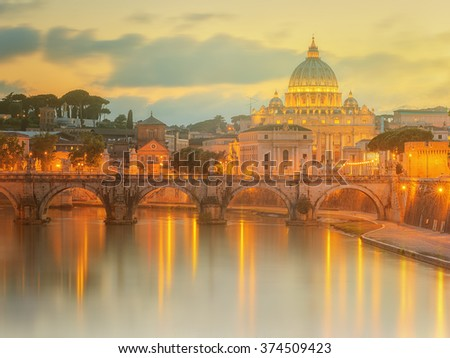 Sunset at The Papal Basilica of Saint Peter in the Vatican city, Rome, Italy